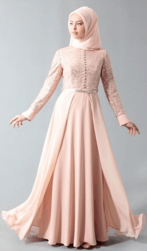 gaun panjang brokat