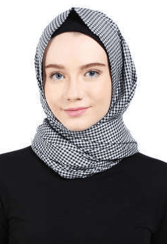 jilbab pashmina monokrom