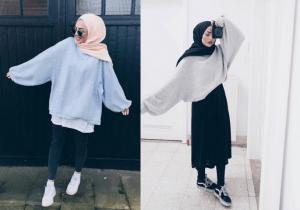 Style hijab dengan pakaian oversized