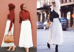 Style hijab dengan rok warna putih